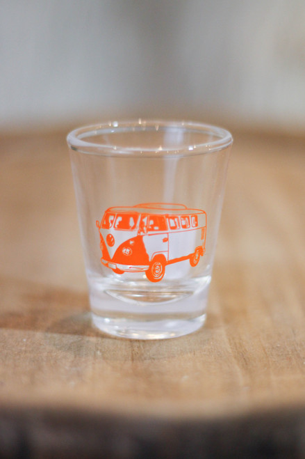 Orange Retro Bus Shot Glass