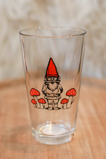 Red Gnome Pint Glass