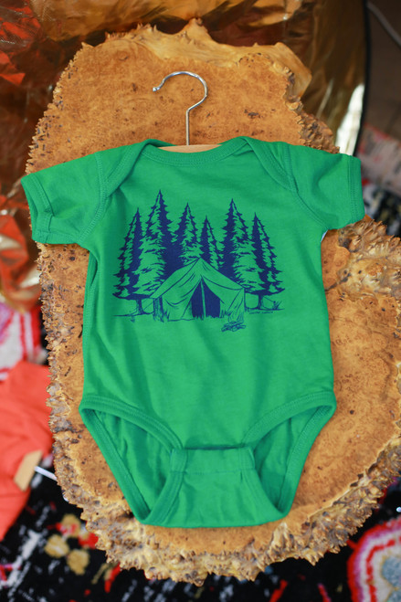 Heather Green Camping Onesie