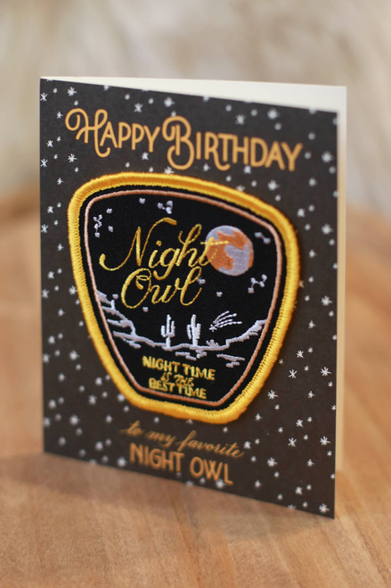 Night Owl Birthday Card with Patch