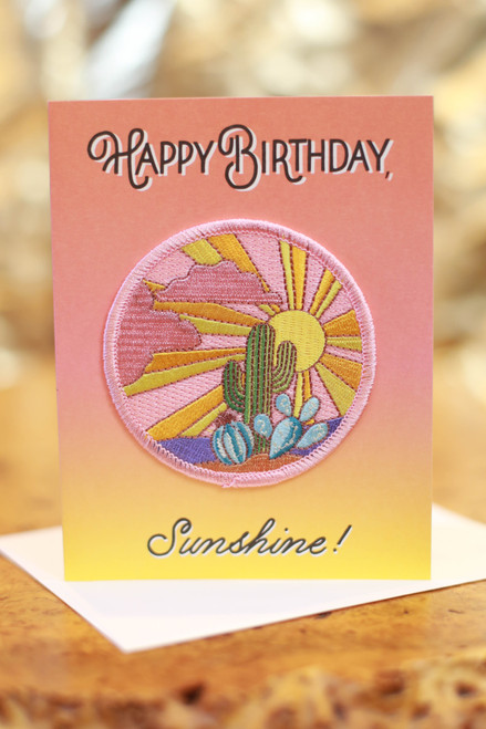 Cactus Sunset Birthday Card with Patch