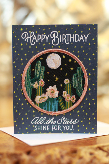 Night Cactus Birthday Card with Patch