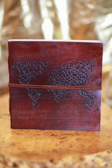 Soothi World Map Square Handmade Leather Journal