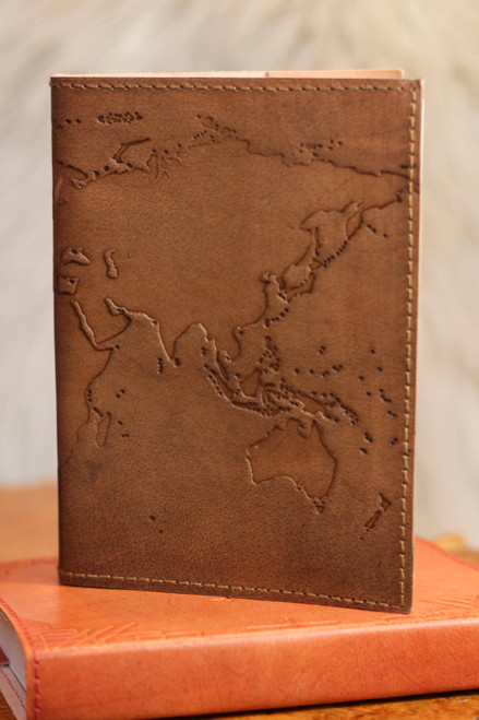Soothi Refillable World Map Blonde Genuine Leather Journal