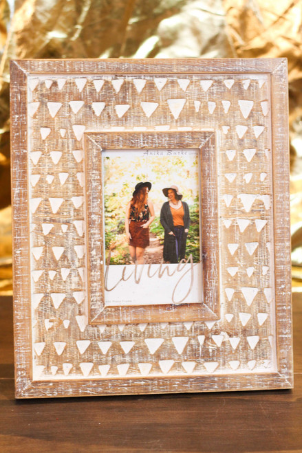 "Triangle Carved Wood 4"" x 6"" Photo Frame"