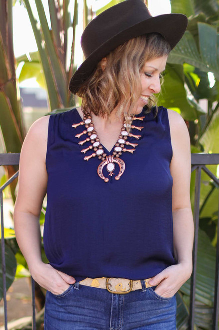 Sleeveless Wonder Deep Navy V-Neck Sleeveless Blouse front view.