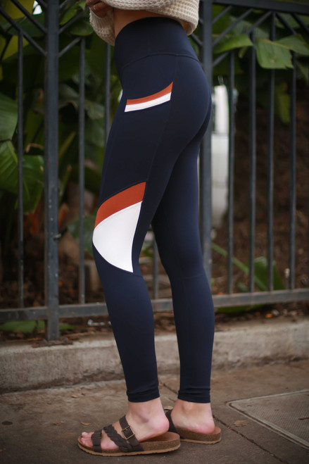 Activated Athletics Slanted Color Block High Waist Leggings with Pockets side view.