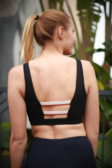 Activated Athletics Tricolor Triple Strap Sports Bra front view.