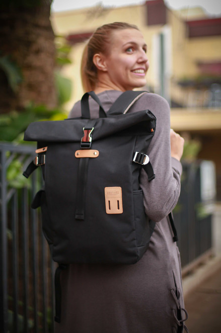 Harvest Black Rolltop Backpack Plus