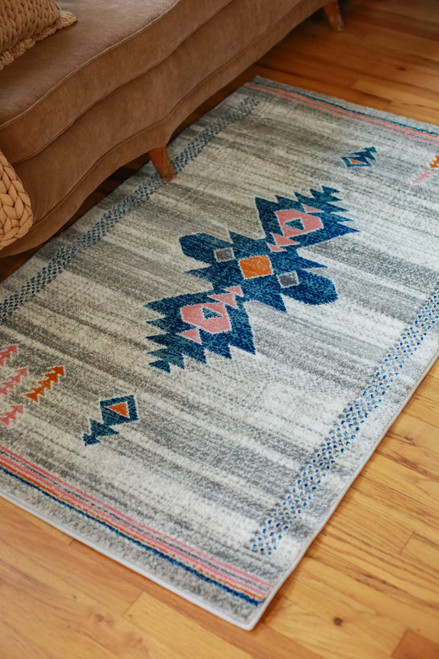 Abani Blue and Orange Southwestern Tribal Print 3' x 5'  Rug