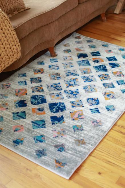 Abani Blue and Orange Southwest Block 3' x 5'  Rug