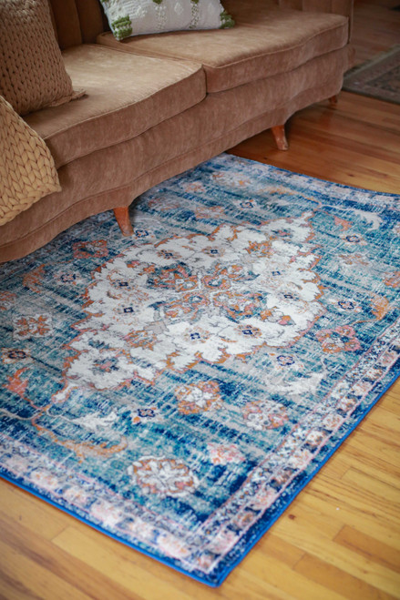 Abani Blue and Orange Persian Inspired Porto 4' x 6' Rug