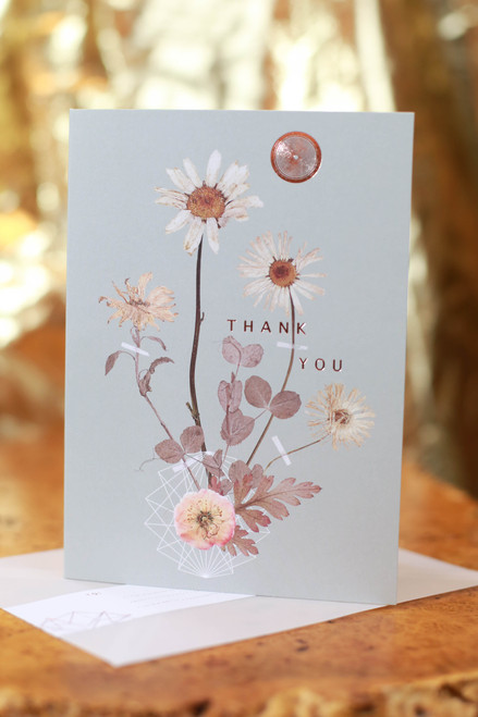Papaya Sepia Daisy Thank You Card