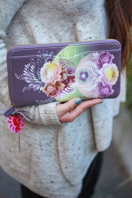 Papaya Solar Blooms Travel Clutch