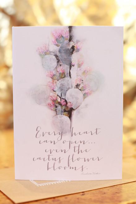 Papaya Cactus Flower Greeting Card