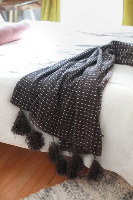 Charcoal Kadin Hand Woven Throw