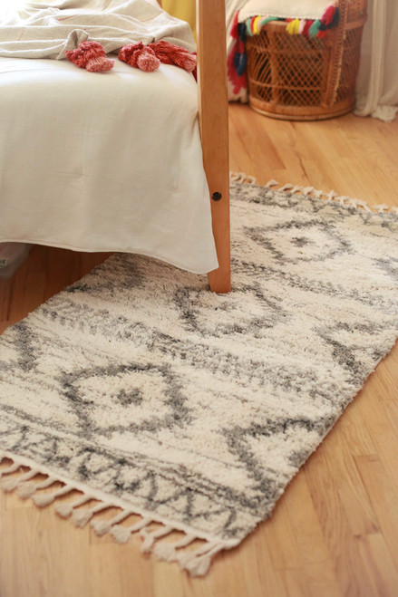 Abani Ivory and Gray Bohemian Geometric Print Willow 3' x 5' Rug