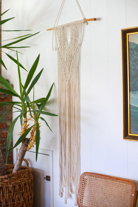 "Triangular 21"" x 50"" Macrame Wall Hanging"