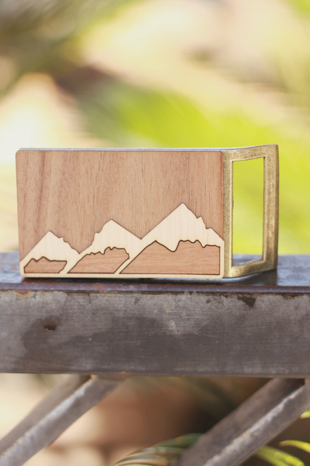 Treeline and Tide Mountain Range Belt Buckle
