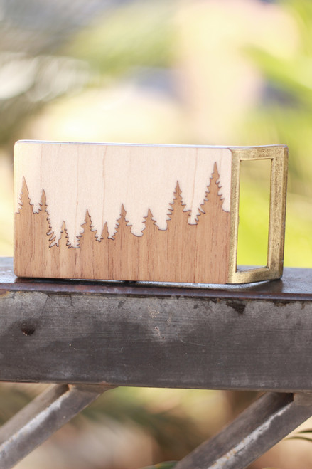 Treeline and Tide Forest Belt Buckle
