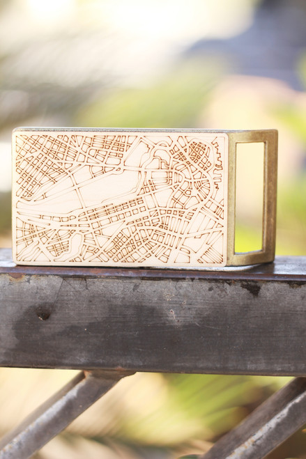 Treeline and Tide Boston Map Belt Buckle