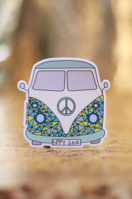 Geometric VW Van Peace Sticker