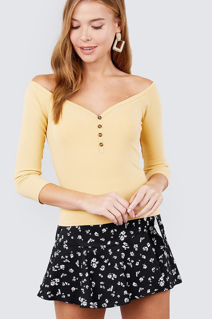 3/4 Sleeve Off Shoulder Button Down Top