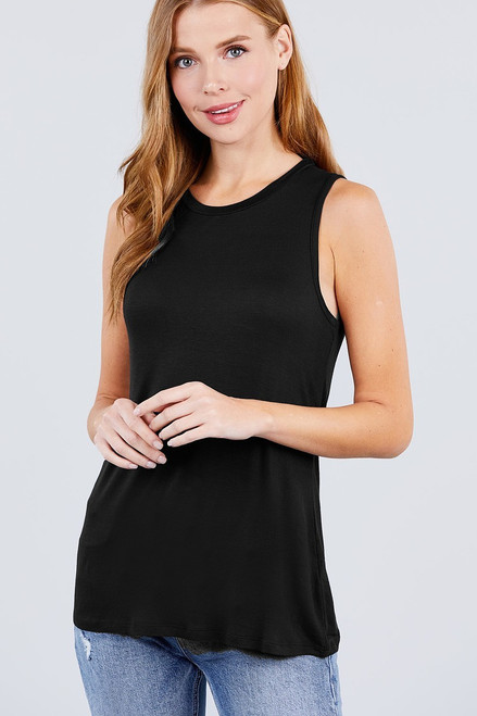 Black Sleeveless Round Neck Rayon Top