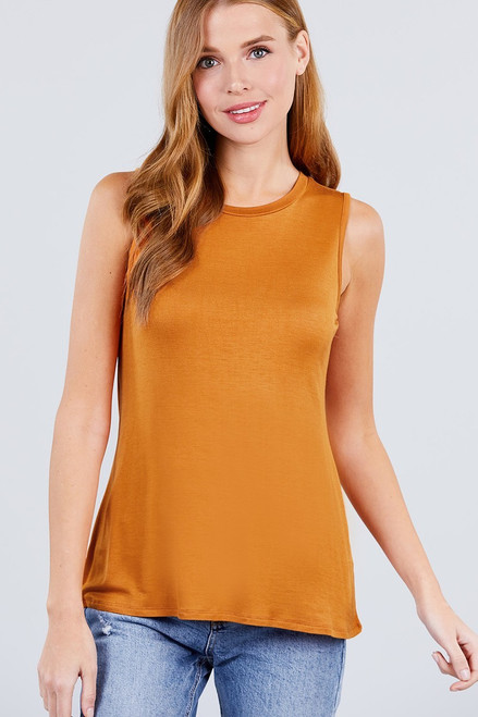 Carrot Sleeveless Round Neck Rayon Top