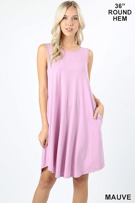 "Mauve 36"" sleeveless round hem swing dress with pockets."