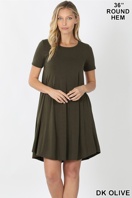 "Dark Olive 36"" short sleeve round hem swing dress with pockets."