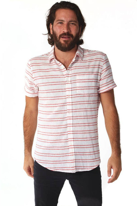 Short sleeve linen gauze weave button-down shirt with a horizontal stripe.