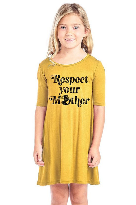 """Girls short sleeve graphic dress in mustard featuring a graphic design reading """"Respect Your Mother"""""""