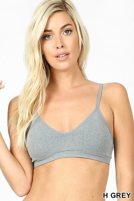V-Neck convertible bralette with adjustable straps and removable pads in heather gray.