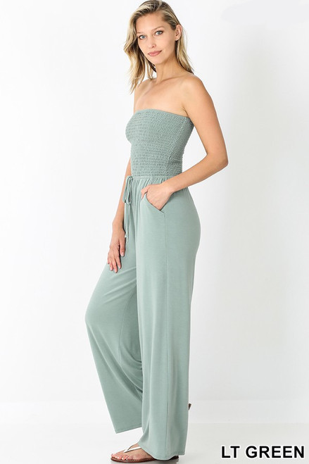 Light Green Smocked tube top jumpsuit with pockets and elastic waistband.