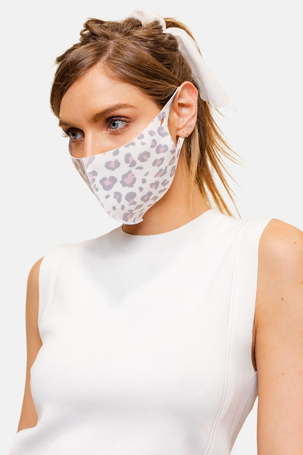 Leopard print  face mask made of anti-bacterial and odor-preventing fabric.