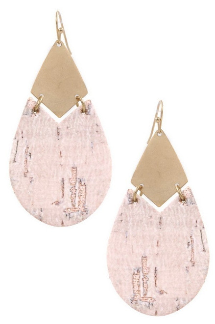 Gold & beige hammered metal & cork drop fish hook earrings.