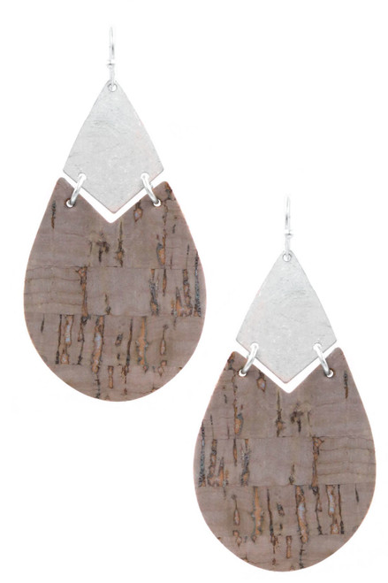 Silver & gray hammered metal & cork drop fish hook earrings.