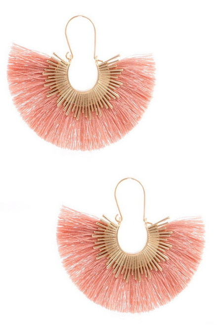 Brass and gold cotton tassel sun drop earrings.