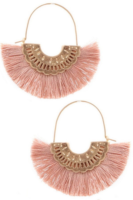 Cotton tassel metal crescent earrings in dark pink.