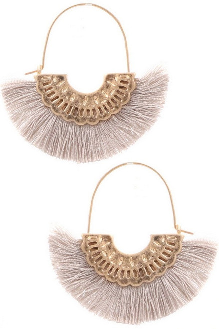Cotton tassel metal crescent earrings in light gray.