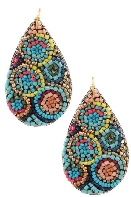 Multi color seed bead teardrop earrings with fish hook ear wire.