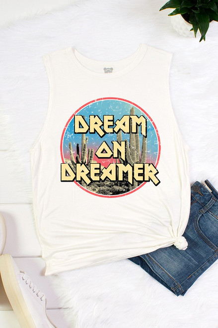 "Ivory jersey rayon muscle tank top with a fun cactus graphic reading ""Dream on Dreamer""."