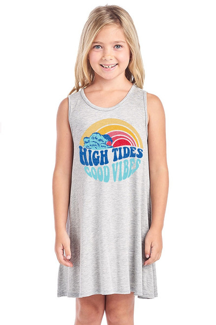"Girls sleeveless A-Line graphic dress in mustard featuring a graphic design reading ""High Tides, Good Vibes""."