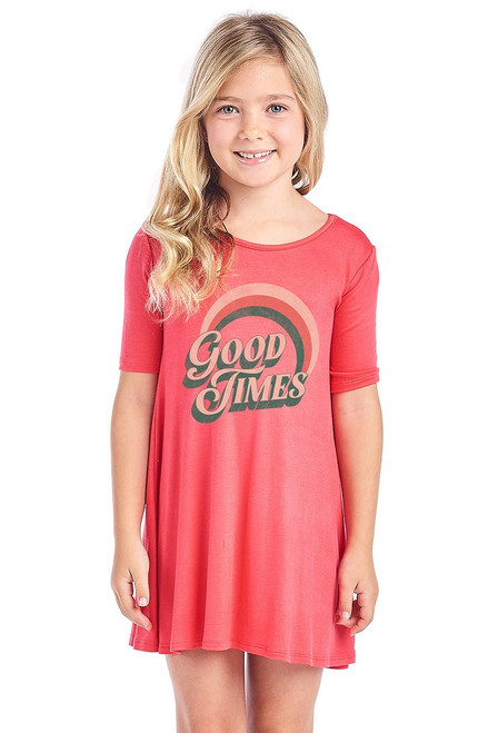 "Girls short sleeve graphic dress in coral featuring a rainbow design reading ""Good Times"""