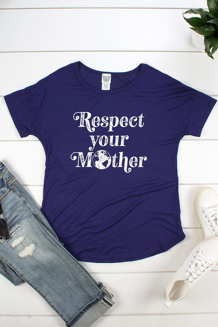 "Navy Blue jersey rayon short sleeve graphic tee with a faltering curved hem featuring a fun graphic design reading"" Respect Your Mother."""