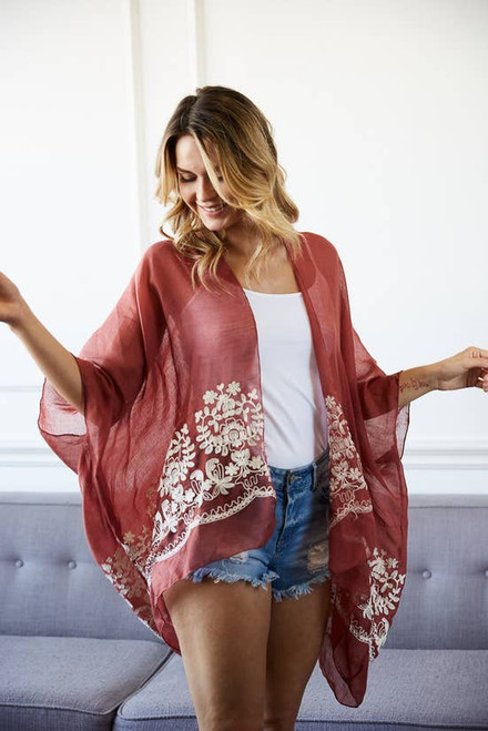Floral Embroidered Stitch Kimono in Rosewood