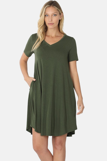 "Army Green 36"" short sleeve round hem swing dress with pockets."