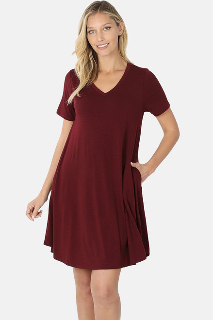 "Dark Burgundy 36"" short sleeve round hem swing dress with pockets."
