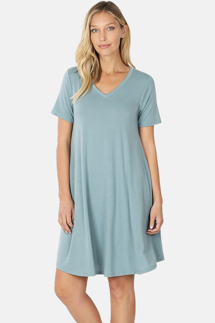 "Blue Gray 36"" short sleeve round hem swing dress with pockets."